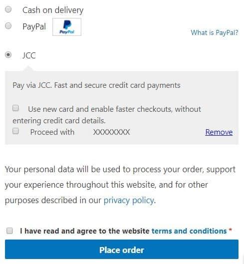 JCC One Click Pay Checkout